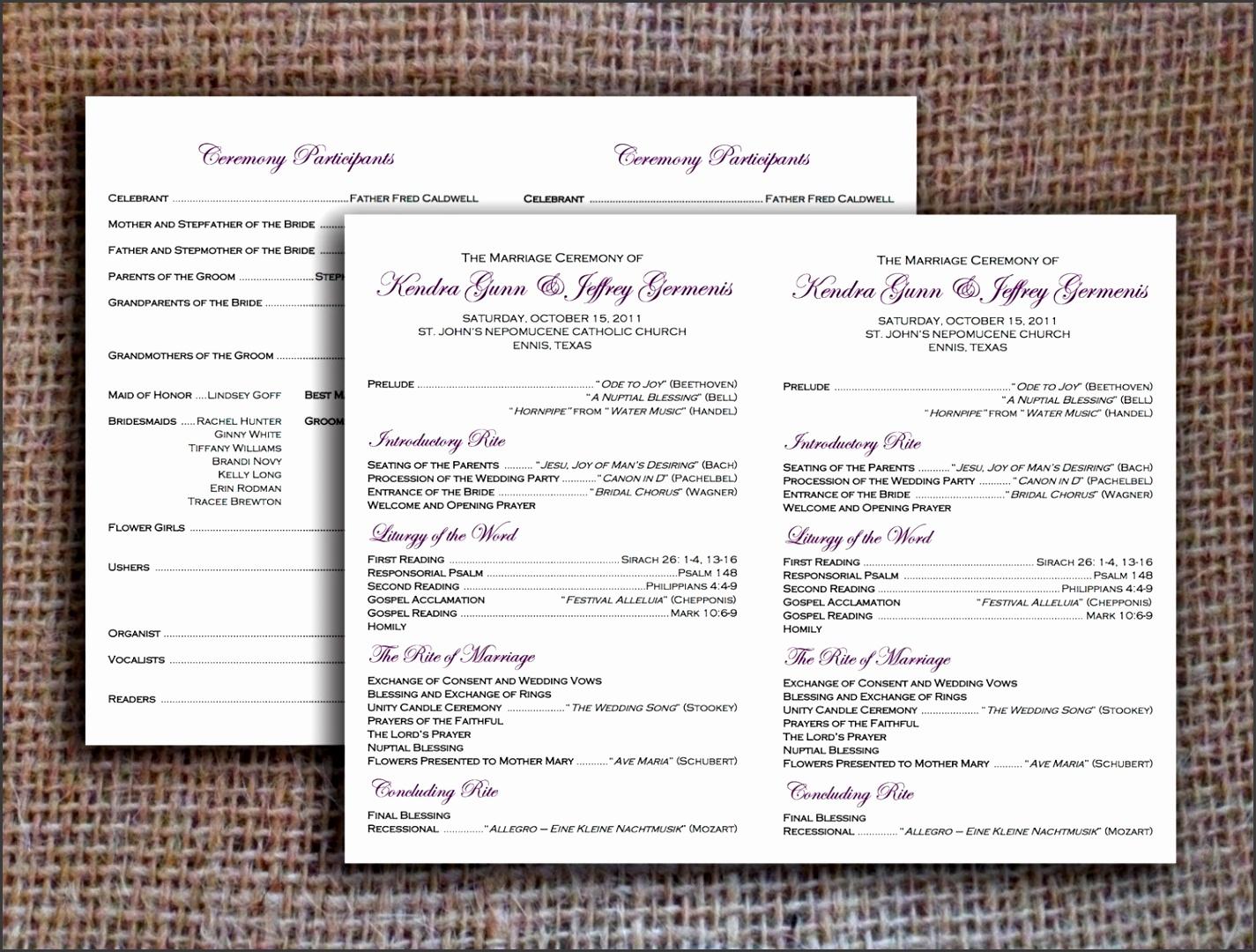 Wedding Programs Free Templates Wedding Program Templates