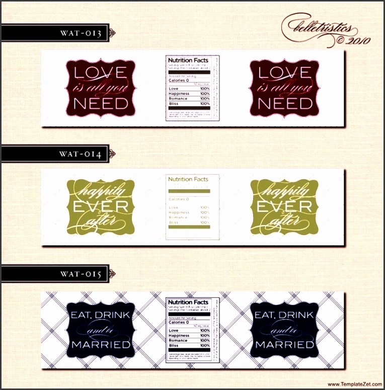 Free Wedding Water Bottle Label Template
