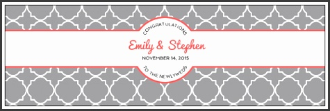 "OL5950 8"" x 2 5"" Quatrefoil Wedding Water Bottle Labels"