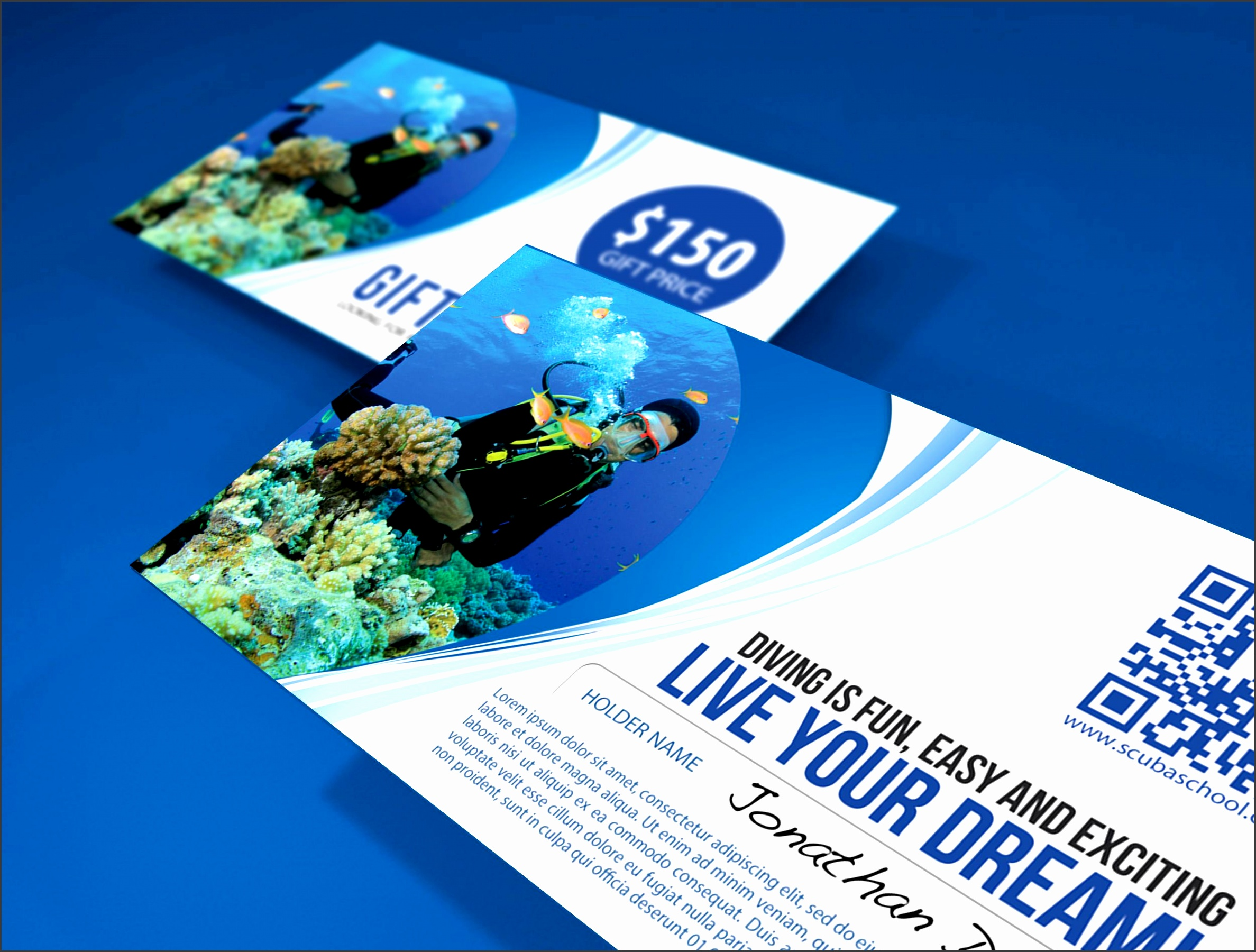 Scuba Gift Voucher Template Miscellaneous Print Templates Codester 001 Scuba Gift Voucher Template Fun Voucher Template Fun Voucher Template