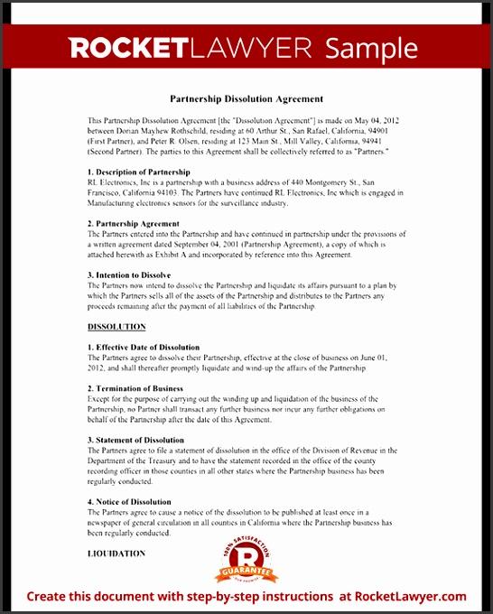 Sample Partnership Dissolution Agreement Form Template Test