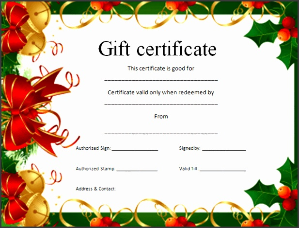 Christmas t certificate template