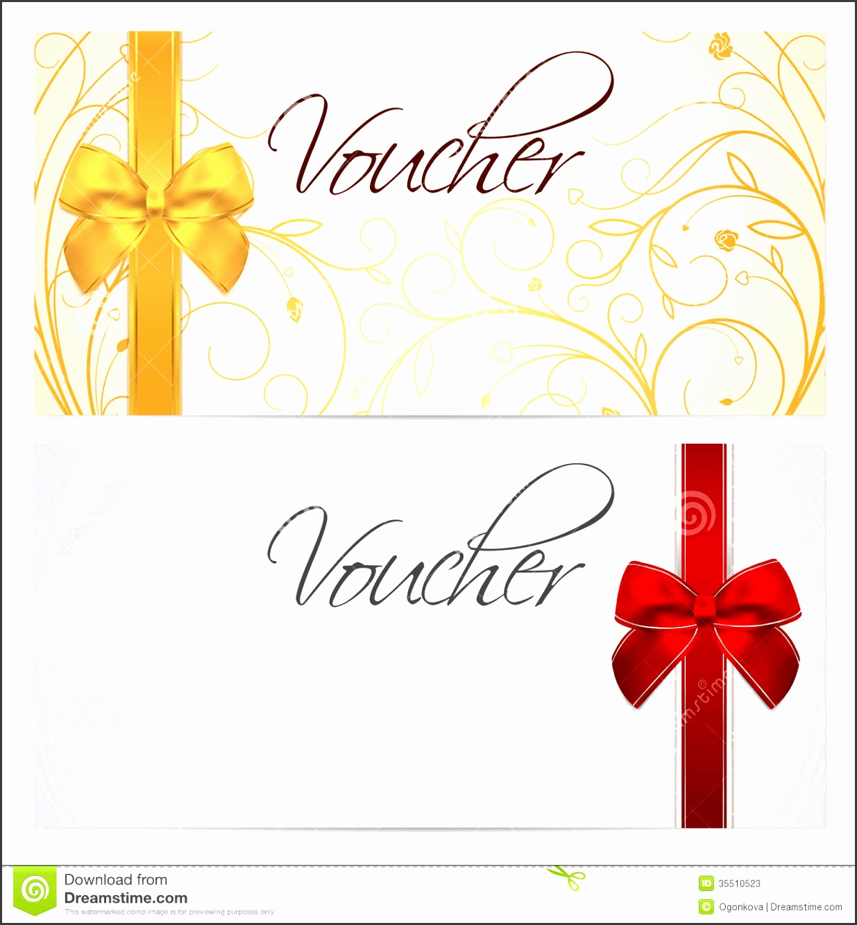 Voucher Gift certificate Coupon template Red b