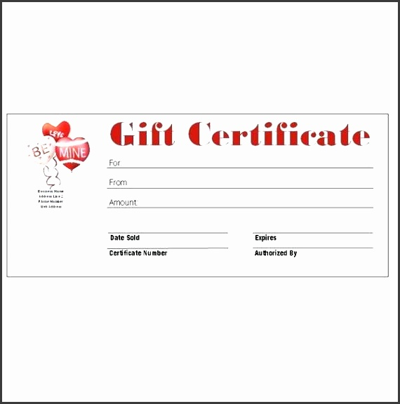 Free Gift Certificate Template For Word Valentines Day Gift