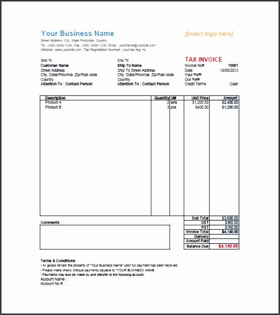 PDF Retail Invoice Template Example