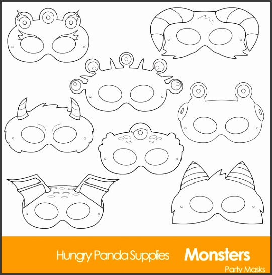 Monster Printable Coloring Masks halloween masks monsters monster costume monster party halloween party printable masks