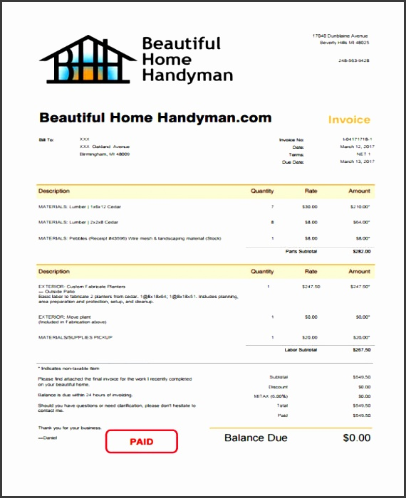 6 Handyman Invoice Template Free Sample Example Format Download Handyman Invoice Sample