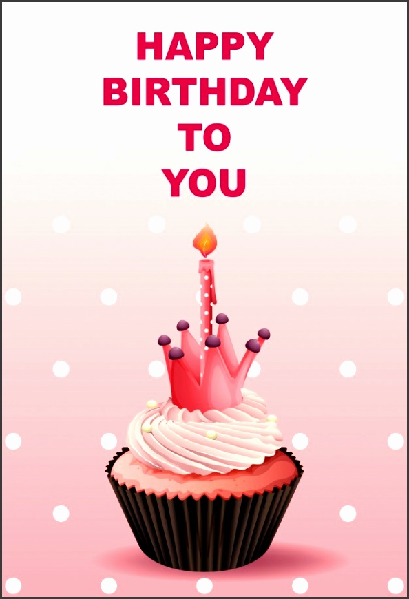 Happy Birthday card template with pink cupcake Free Vector