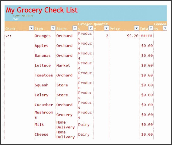 Healthy Grocery List PDF Template