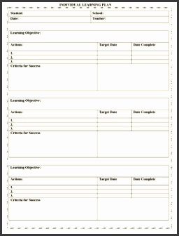 Individual Learning Plan Template