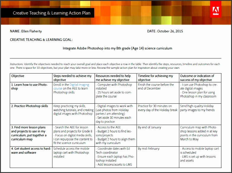 Creative Teaching & Learning Action Plan Template and Sample Plan