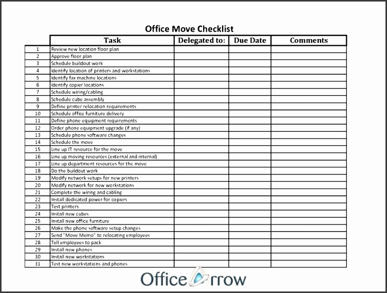 fice Moving Checklist Template