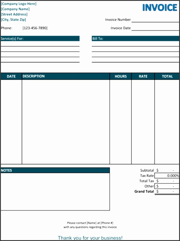 Blank Service Invoice Template
