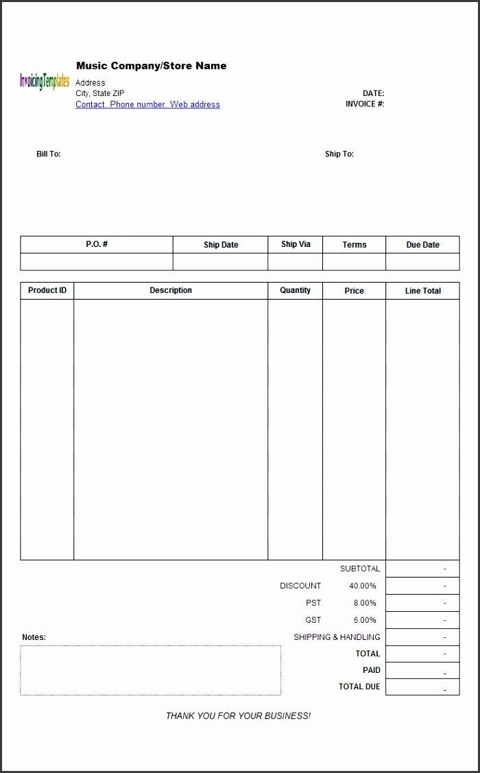 Music Store Invoicing Sample Wholesale