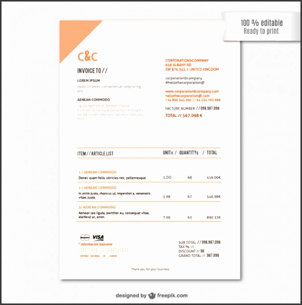 Invoice template Free Vector