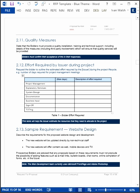 This Request for Proposal template helps you articulate your specification of requirements the approach to payment e g daily rates and fixed price costs