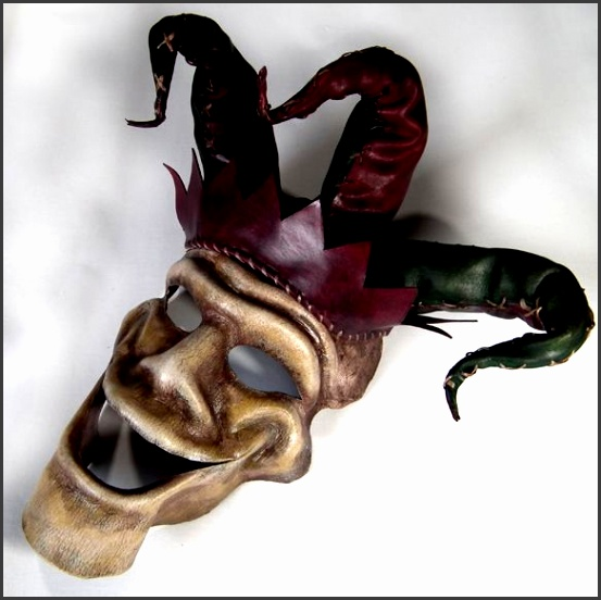Handmade Leather Jester Mask or could be Wall Art by Shadows Ink