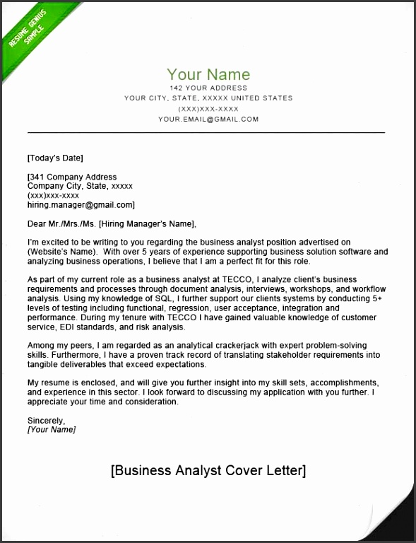 Cover Letter Example Business Analyst Park Business Analyst CL Park
