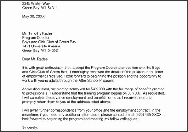 Job fer Acceptance Letter