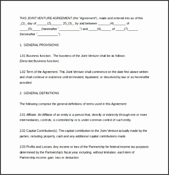 9 joint venture agreement template free download for Jv agreement template free