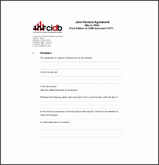 First Joint Venture Partnership Agreement PDF Format Free Download