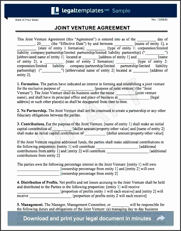 Sample Joint Venture Agreement Real Estate