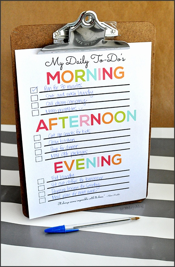 My Daily To Do List printable