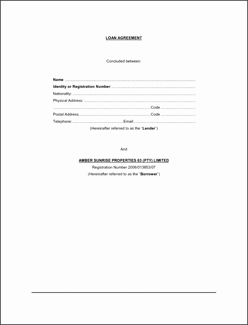 Sample Loan Agreement Letter Templates Free Simple Form Best Template Design For Divorce Contract Pdf