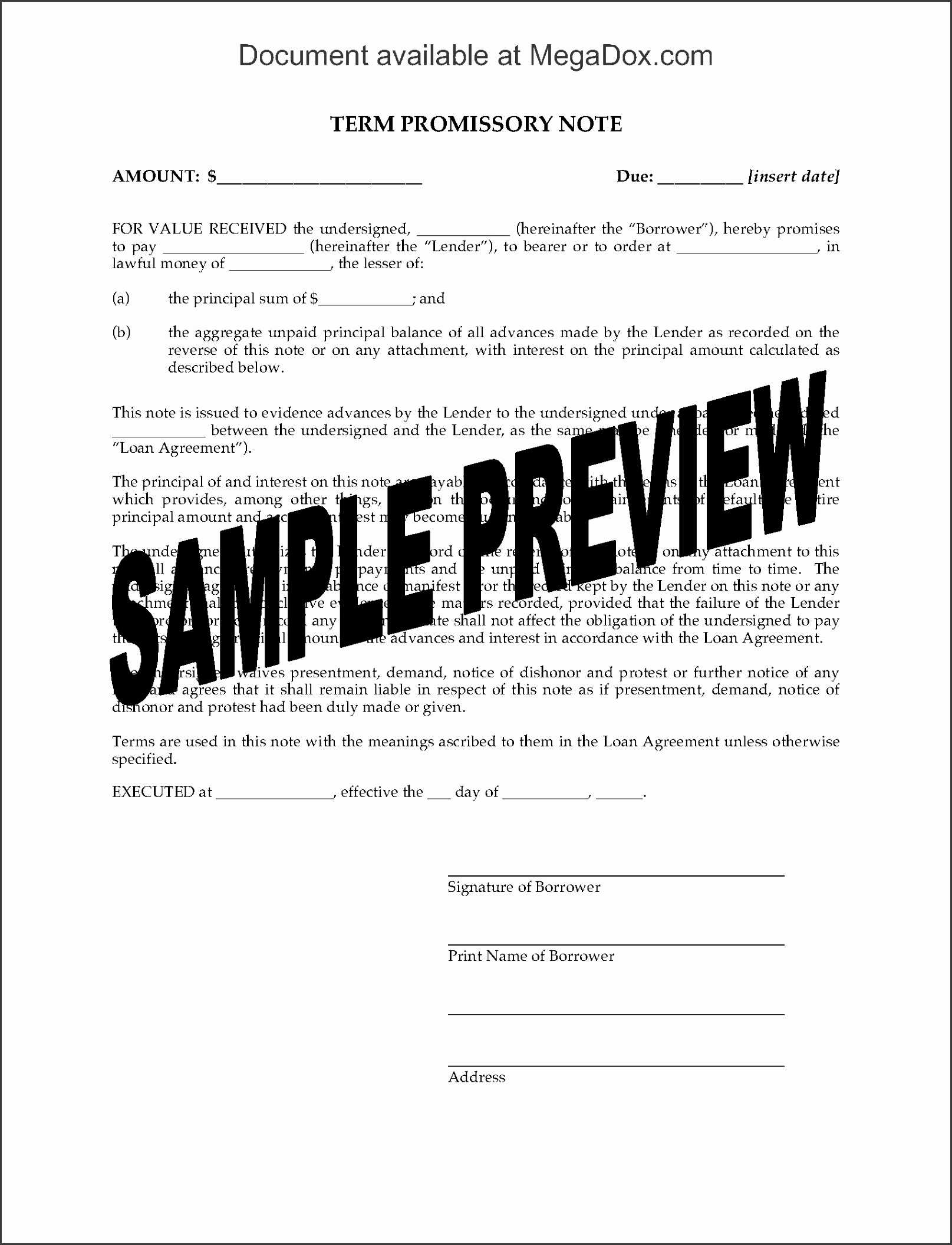 Picture of Grid Promissory Note for Multiple Loan Advances