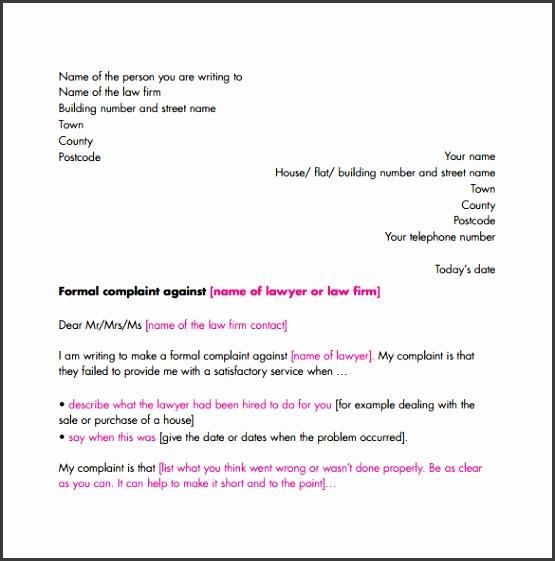 plaint letter formats