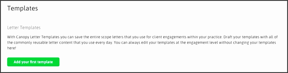 If you have never saved a letter template before click Add Your First Template