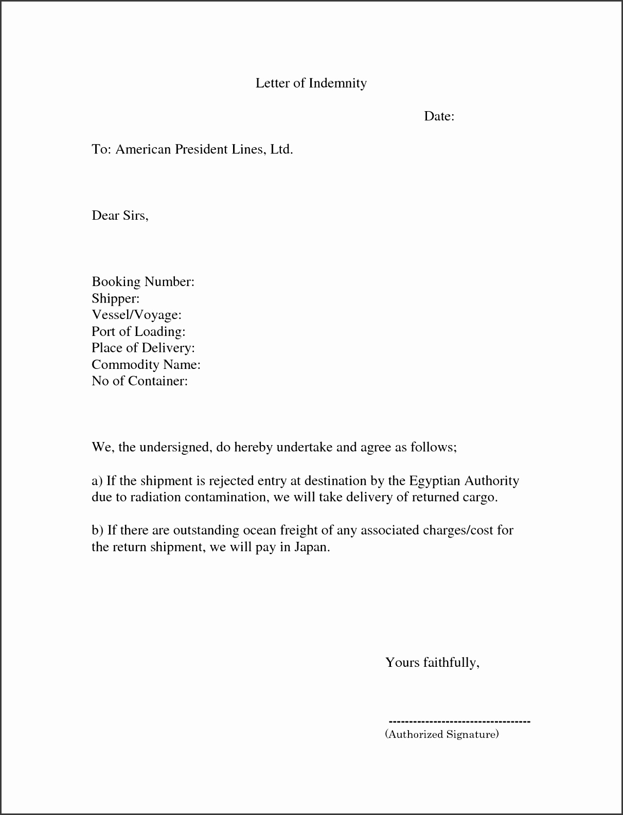 Letter of Indemnity Get as DOC by bl0QMP VCOLhEd1