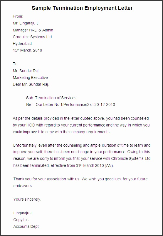 Free Termination Letter Template 32 Free Sample Example Format Download