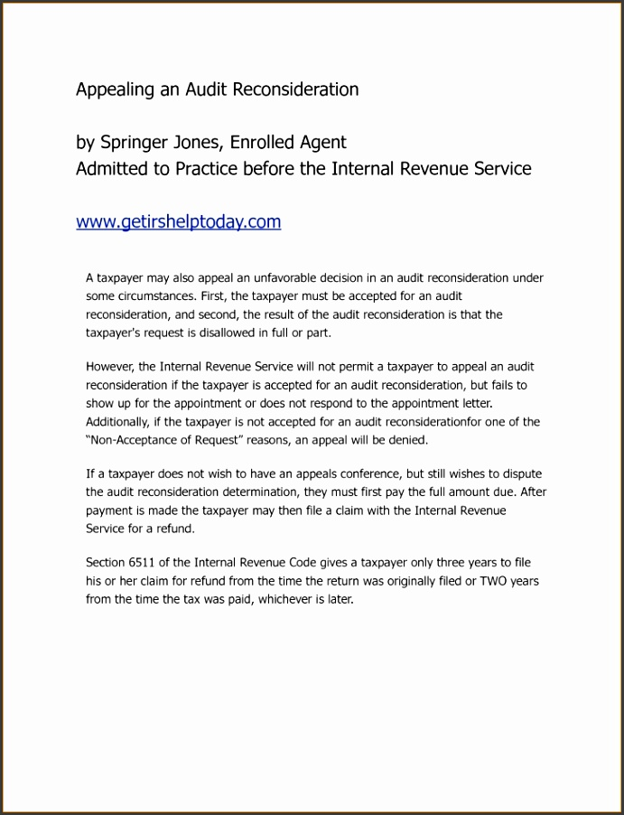 10 Audit Reconsideration Letter Template