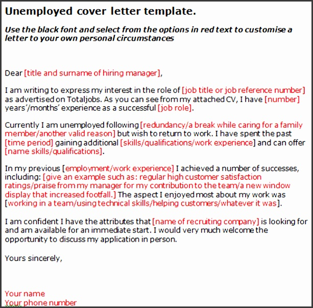 Unemployed Cover Letter