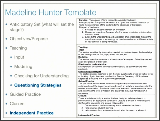 LESSON PLAN TEMPLATES 22 Madeline Hunter Template Anticipatory