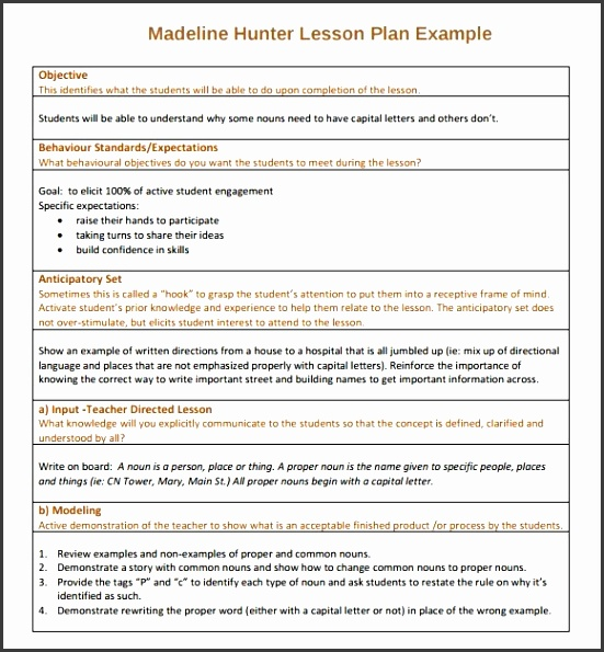 Sample Madeline Hunter Lesson Plan Template 7 Free Documents In intended for Madeline Hunter