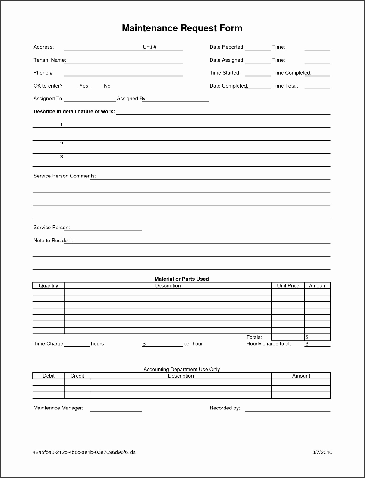 Maintenance Work Order Request Form