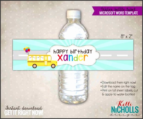Wheels on the Bus Water bottle label template Perfect for birthdays or school parties