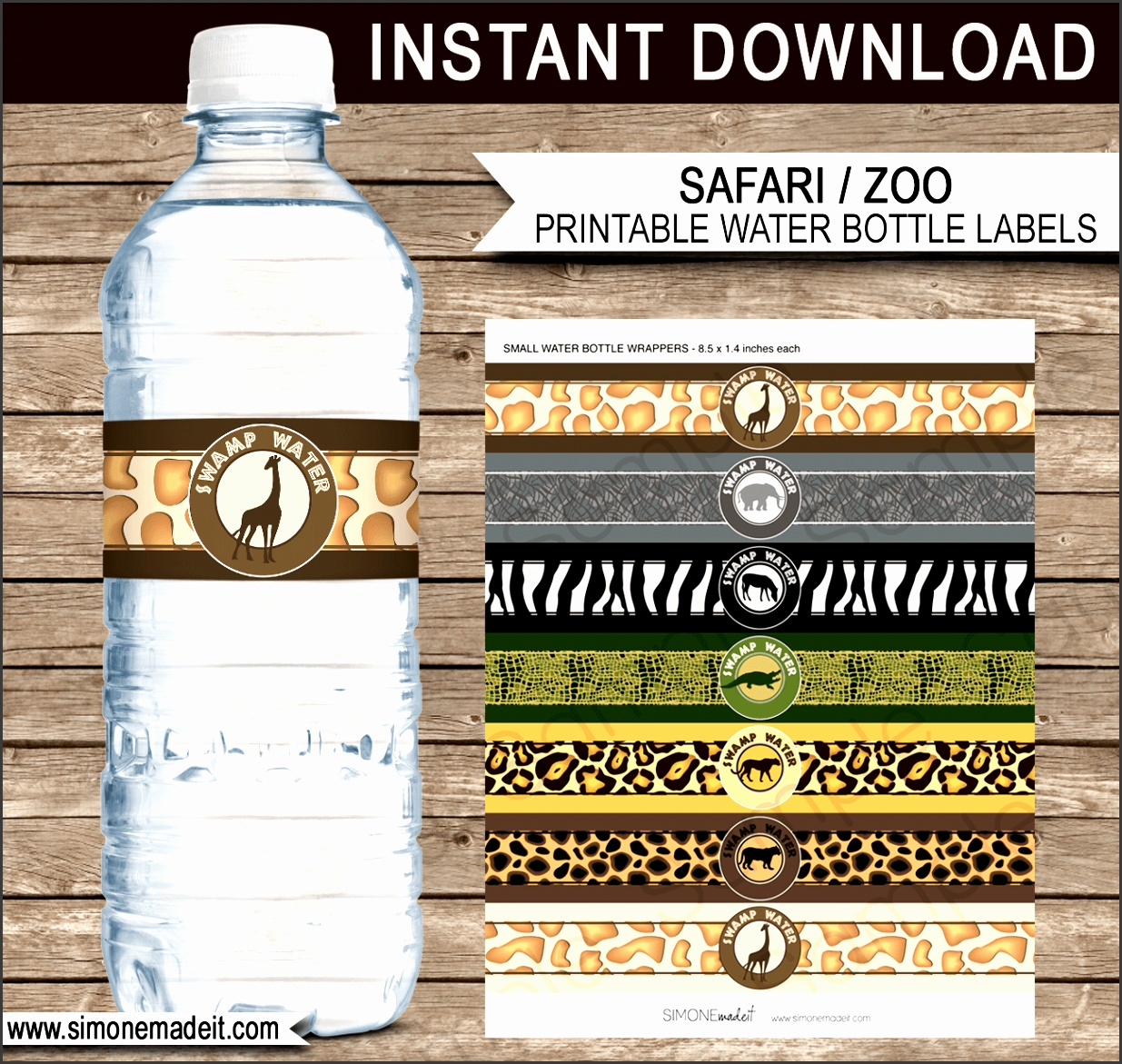 Safari Party Water Bottle Labels or Wrapper DIY Printable Template