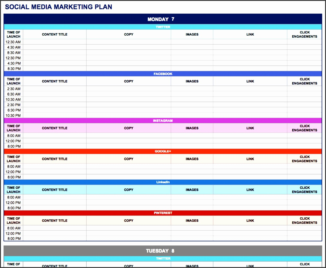 Social Media Marketing Plan Excel