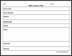 lesson plan templates math