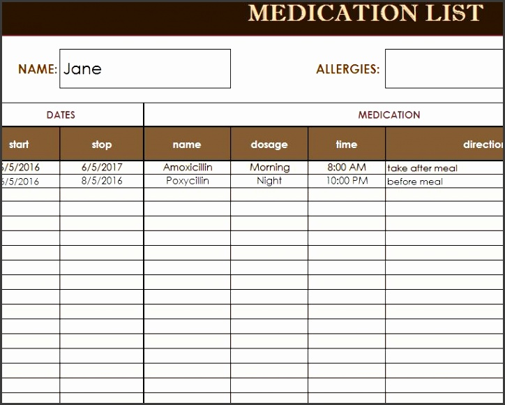 medication list template