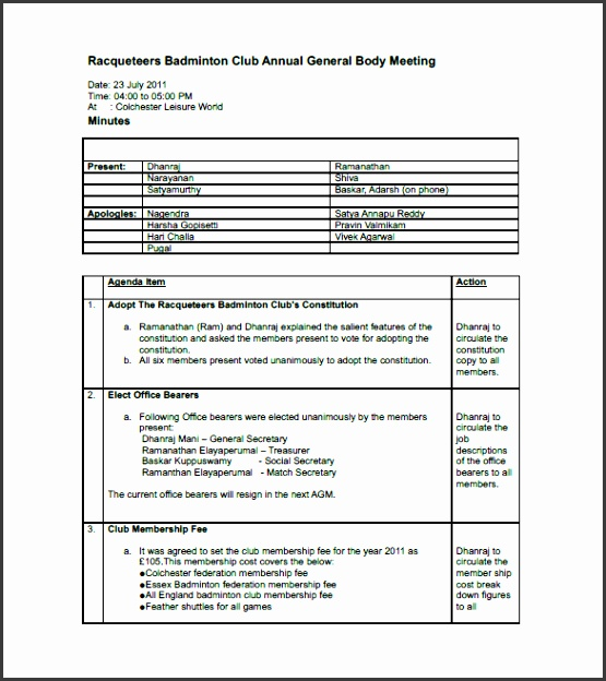 Club Meeting Minutes Template Free Sample Example Format
