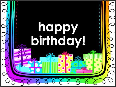 Birthday card ts on black background half fold