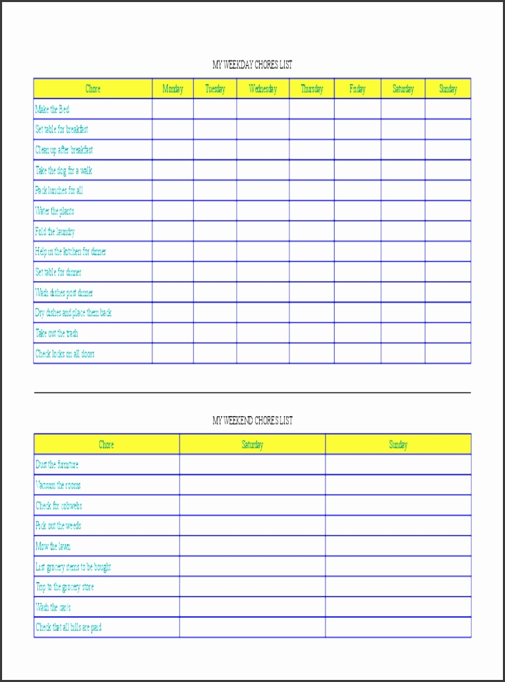 Weekday and Weekend Chore Chart Templates