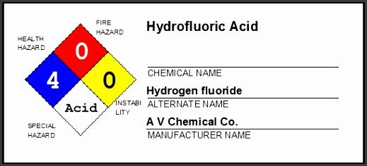 M SDS module NFPA Hazard label