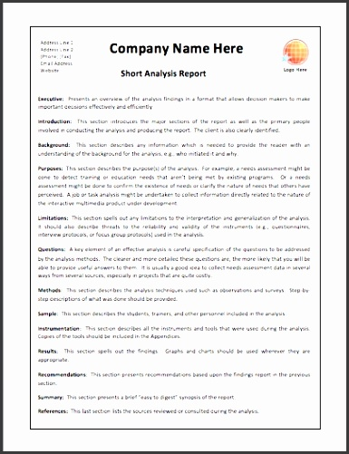Appealing Short Analysis Report Template Example With pany Name inside Short Report Template