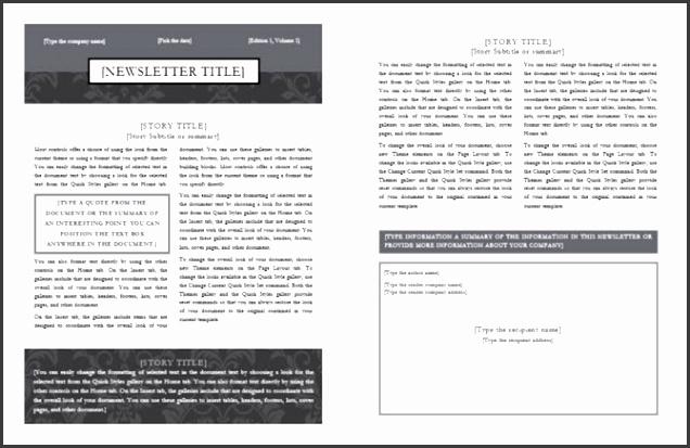 newsletter template black tie design