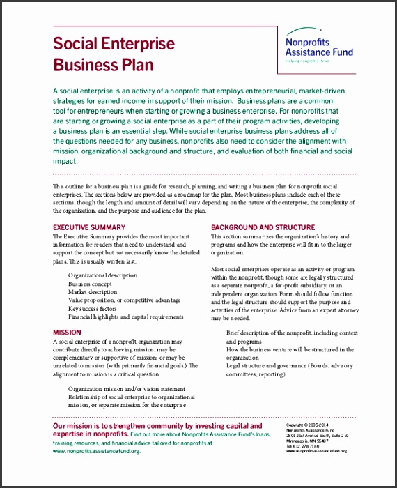 Social Enterprise Business Plan Nonprofits Template in PDF